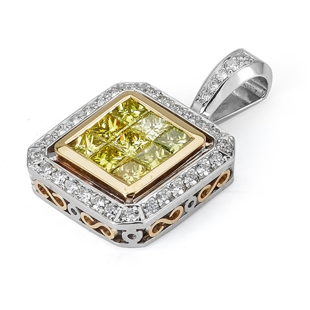 18KT 2 TONE INVISIBLE AND PAVE SET PENDANT, DIAMOND 2.06CT
