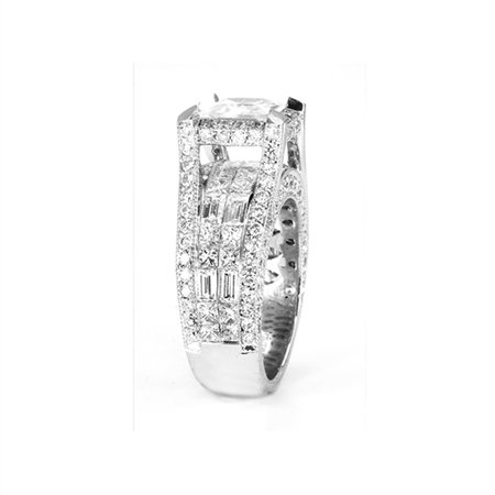 18KTW INVISIBLE SET ENGAGEMENT RING, DIAMOND 4.19CT