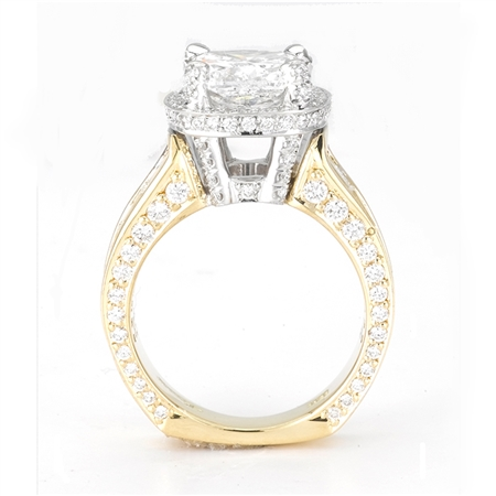 18KT 2 TONE  INVISIBLE SET ENGAGEMENT RING, DIAMOND  2.70CT