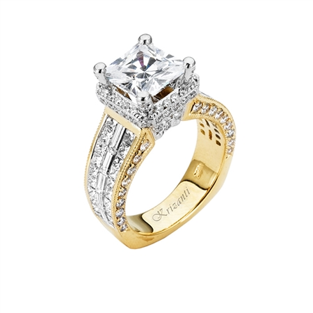 18KT 2 TONE  INVISIBLE SET ENGAGEMENT RING 2.72CT