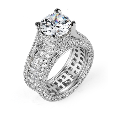 18KTW INVISIBLE SET ENGAGEMENT RING, DIAMOND 5.81CT