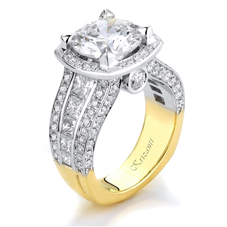 18KT 2 TONE ENGAGEMENT RING 2.95CT