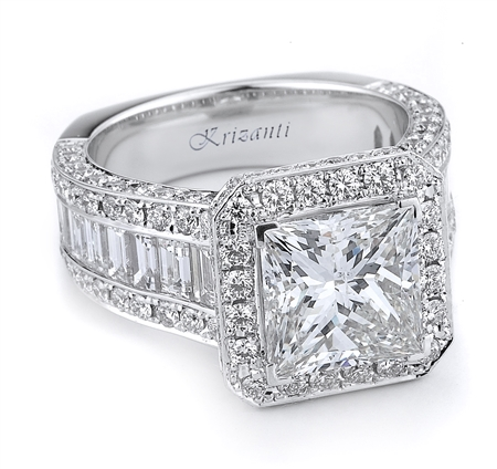 18KT.W ENGAGEMENT RING BGT-1.47CT RD-1.45CT