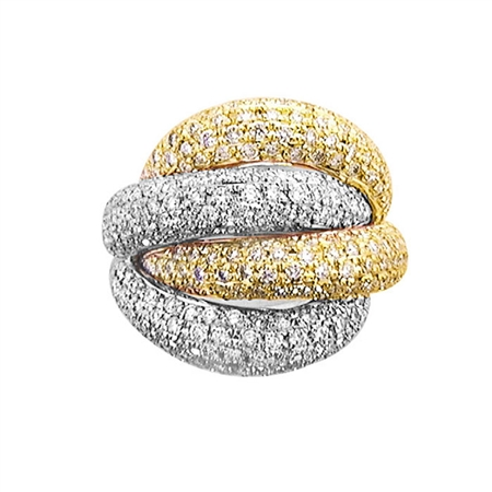 18KT 2 TONE FASHION RING, DIAMOND 5.32CT