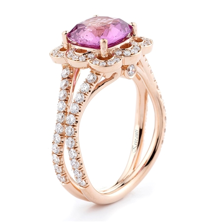 18KT ROSE GOLD FASHION RING, DIAMOND 0.75CT