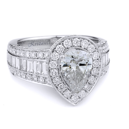 18KT WHITE ENGAGEMENT RING, DIAMOND 1.16CT