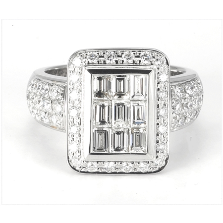 18KW FASHION RING, DIAMOND 2.32CT