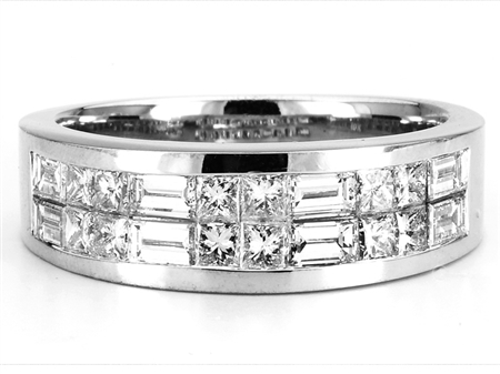 18KTW INVISIBLE SET GENT'S BAND, DIAMOND 2.08CT