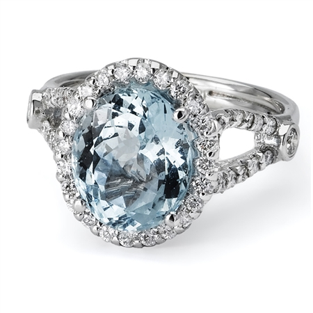 18KTW FASHION RING, DIAMOND 0.72CT, AQUAMARINE 3.58CT