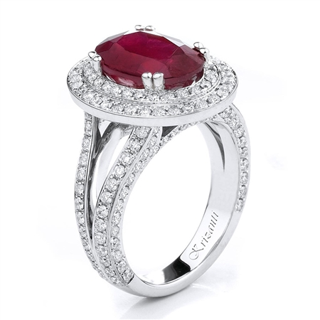 18KTW FASHION RING, DIAMOND 0.89CT, TOURMALIN 5.48CT