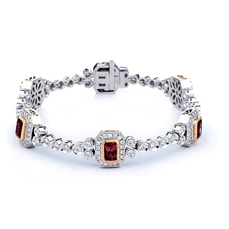 18KTW FASHION BRACELET, DIAMOND 3.14CT, TOURMALINE 3.82CT