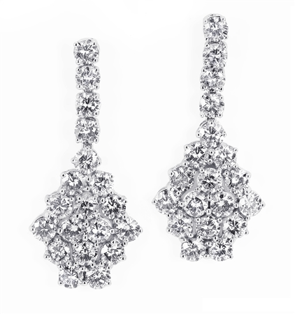18KTW CHANDELIER EARRINGS, DIAMOND 10.28CT