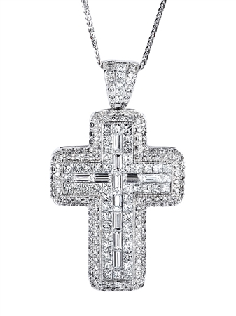 18KTW CROSS PENDANT, DIAMOND 4.72CT