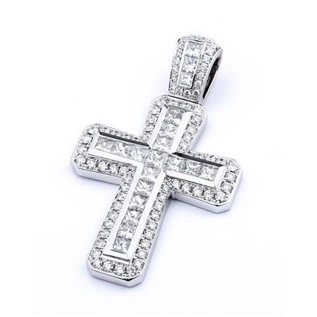 18KTW CROSS PENDANT, DIAMOND 3.01CT
