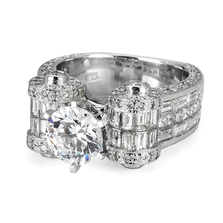 18KTW INVISIBLE SET ENGAGEMENT RING 4.53CT