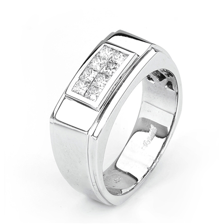 18KTW INVISIBLE SET GENT'S BAND, DIAMOND 0.70CT