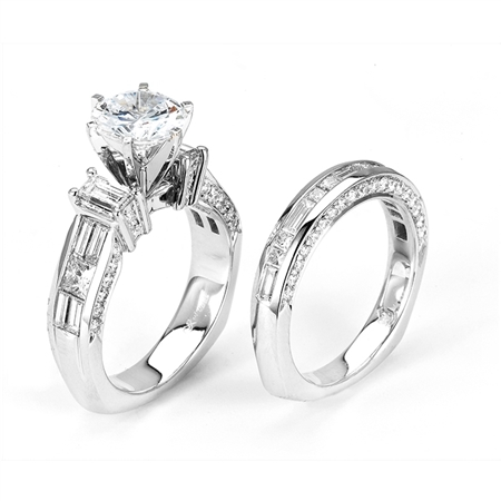 18KTW INVISIBLE SET, ENGAGEMENT SET  2.40CT