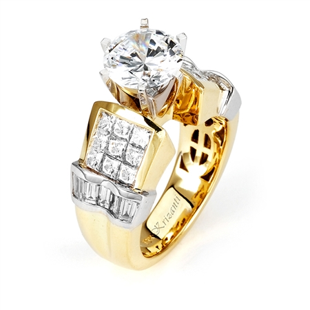 18KT 2 TONE  INVISIBLE SET, ENGAGEMENT RING 2.01CT