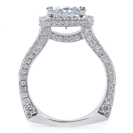 18K WHITE ENGAGEMENT RING BGT-1.54CT RD-1.67CT