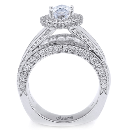 18K WHITE ENGAGEMENT RING BGT-1.41CT PRN-1.20CT RD-1.77 CT