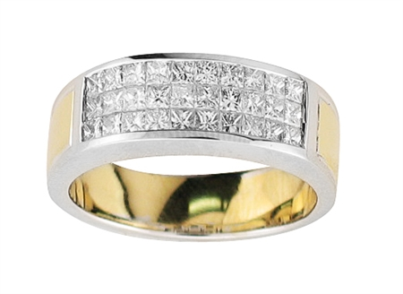 18KT 2 TONE INVISIBLE SET GENT'S BAND, DIAMOND 1.51CT