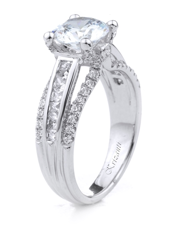 18KT.W ENGAGEMENT RING PRN-0.35CT, RD-0.45CT