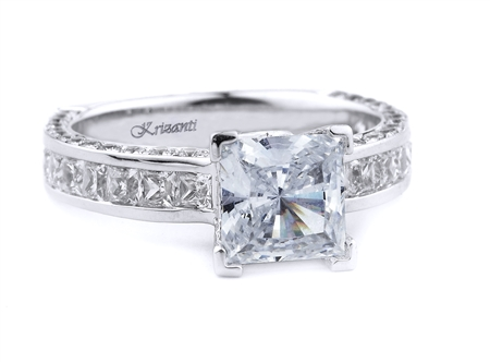 18K WHITE ENGAGEMENT RING PRN-0.70CT RD-0.44CT