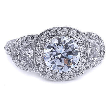 18K WHITE ENGAGEMENT RING HLFMN-0.93CT RD-1.62CT