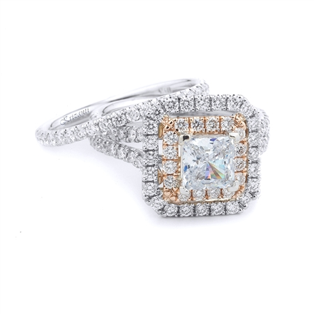 18KT 2 TONE ENGAGEMENT RING, DIAMOND 1.29CT