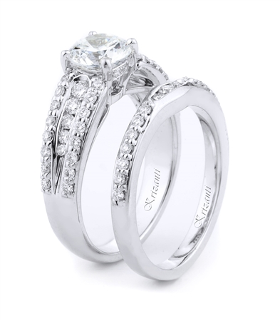 18KT WHITE ENGAGEMENT SET, DIAMOND 0.62CT
