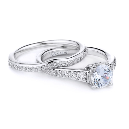 18KT WHITE ENGAGEMENT SET, DIAMOND 0.79CT