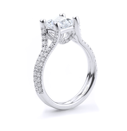 18KT WHITE ENGAGEMENT RING, DIAMOND 0.56CT