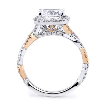 18KT 2 TONE ENGAGEMENT RING. DIAMOND 0.70CT