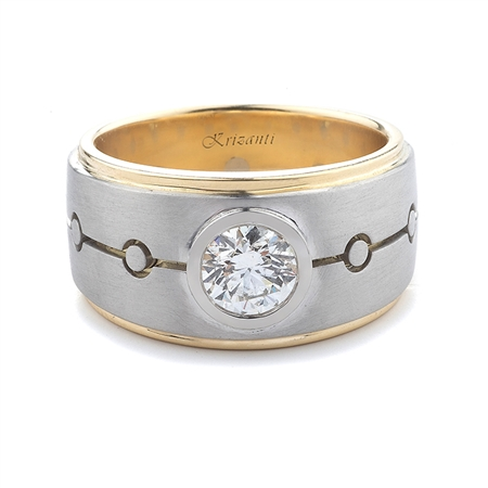 18KT T.TONE GENTS RING