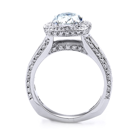 18KT.W ENGAGEMENT RING CUSHION-1.95CT, ROUND 1.05CT