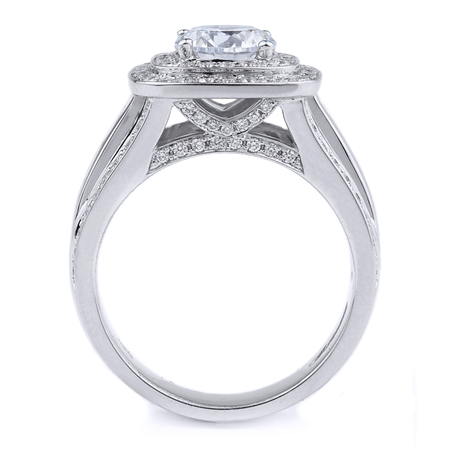 18KT WHITE ENGAGEMENT RING PRN-0.50CT RD-0.68CT
