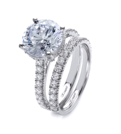 18K WHITE ENGAGEMENT SET 1.37ct