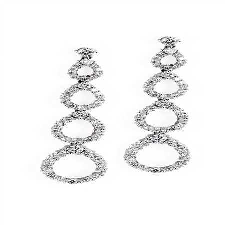 18KTW EARRINGS, DIAMOND 4.35CT