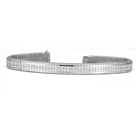 18KTW INVISIBLE SET, TENNIS BRACELET, DIAMOND 11.48CT