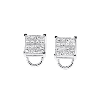 18KTW INVISIBLE SET EARRINGS, DIAMOND 1.67CT