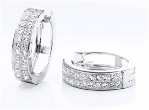 18KTW INVISIBLE SET HOOP EARRINGS, DIAMOND 2.10CT
