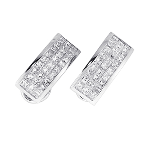 18KTW INVISIBLE SET EARRINGS, DIAMOND 3.23CT