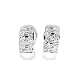 18KTW INVISIBLE SET EARRINGS, DIAMOND 2.42CT