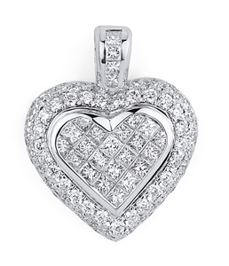 18KTW INVISIBLE AND PAVE SET HEART PENDANT, DIAMOND 2.35CT