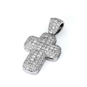 18KTW INVISIBLE AND PAVE SET CROSS PENDANT, DIAMOND 2.30CT