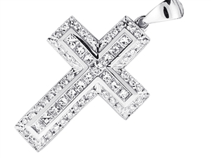 18KTW CROSS PENDANT, DIAMOND 1.66CT