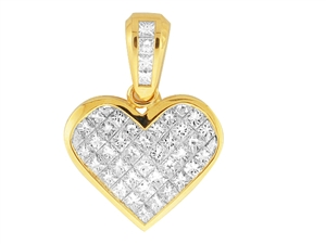 18KTY INVISIBLE SET HEART PENDANT, DIAMOND 3.06CT