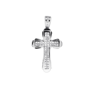 18KTW INVISIBLE SET CROSS PENDANT, DIAMOND 1.95CT