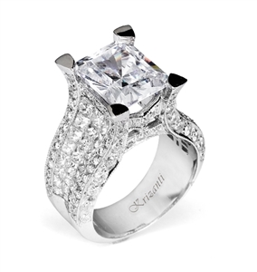 18KTW INVISIBLE SET ENGAGAGEMENT RING, DIAMOND 3.43CT