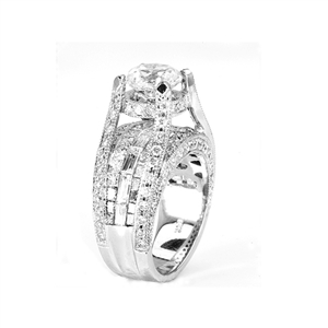 18KTW INVISIBLE SET ENGAGEMENT RING, DIAMOND 3.66CT